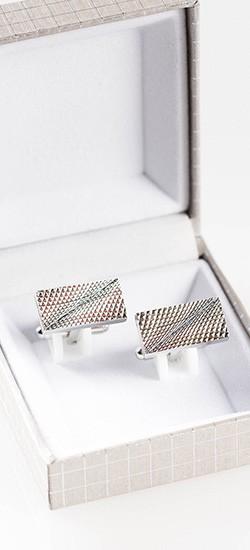 Silver Textured Cufflink