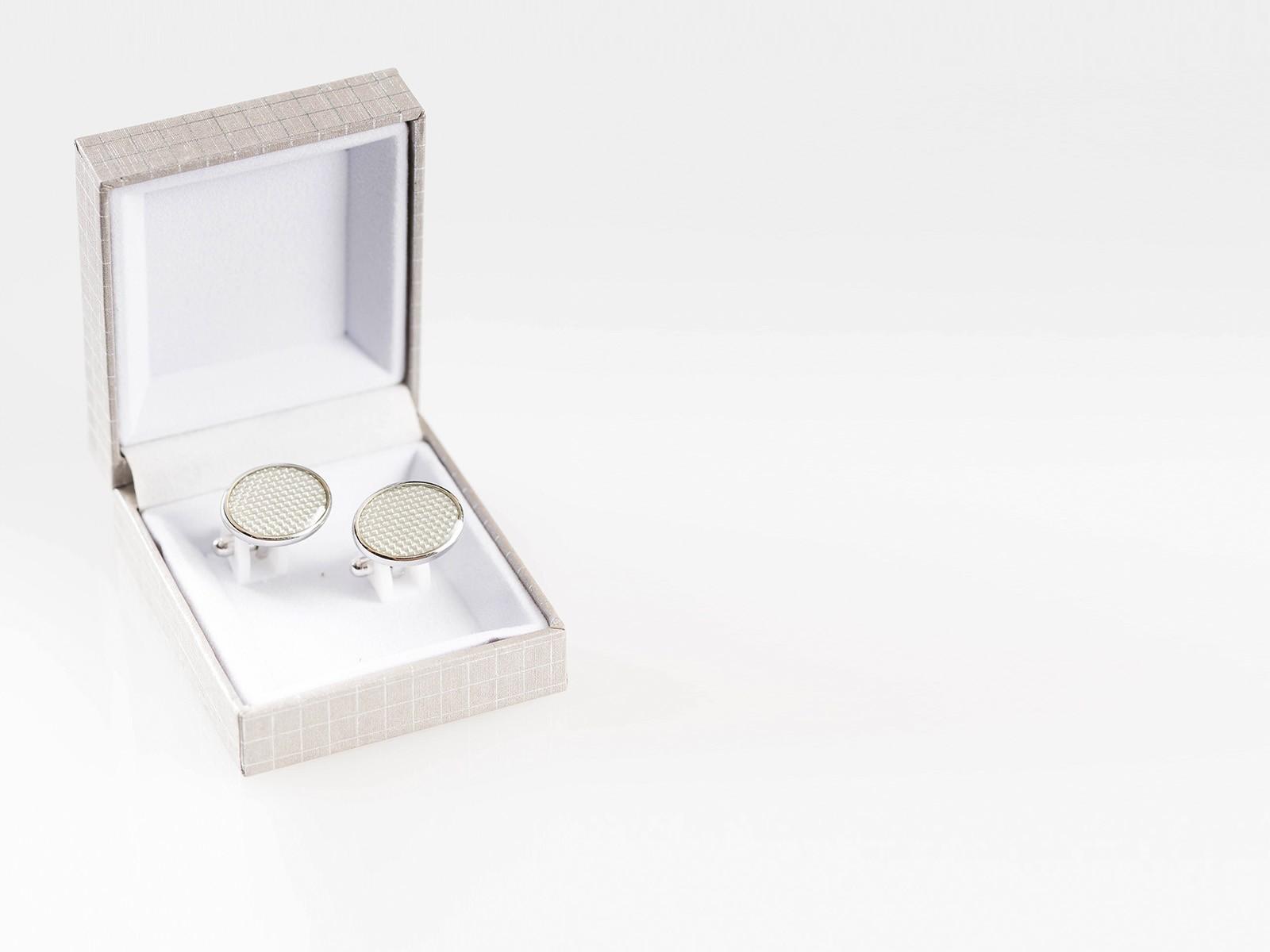 White Silver Cufflink