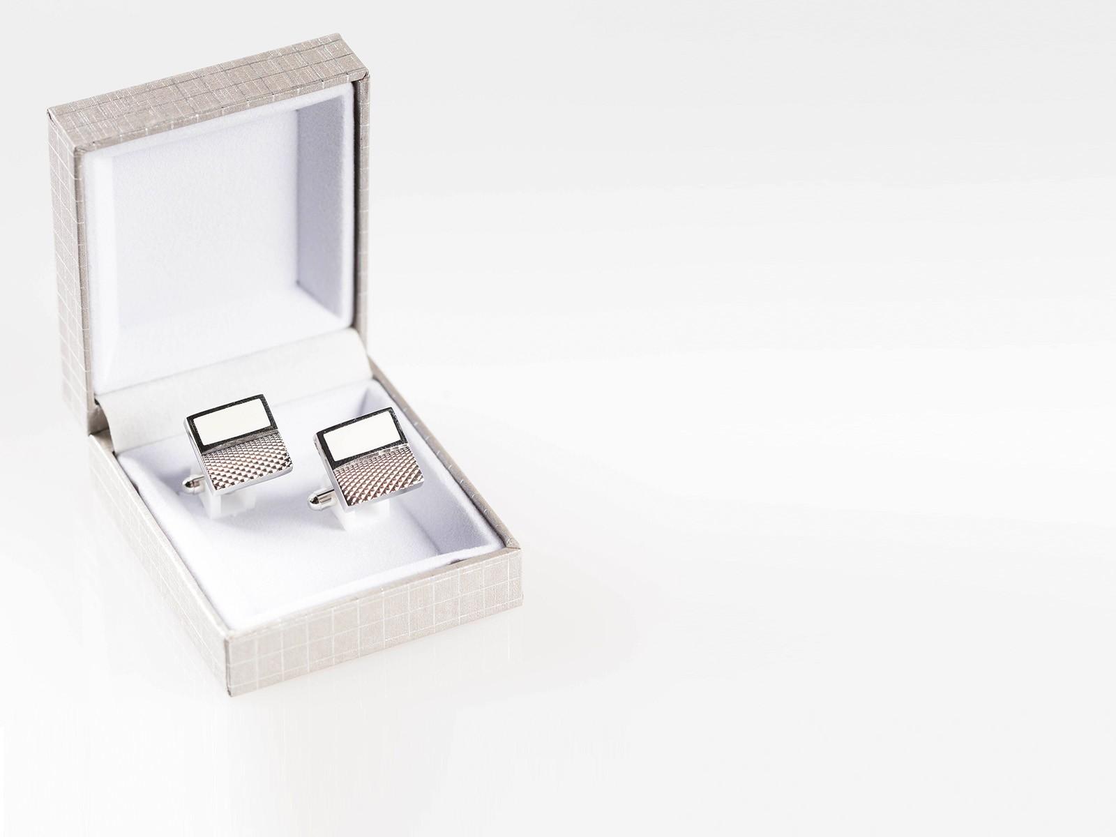 Silver and White Textured Cufflink