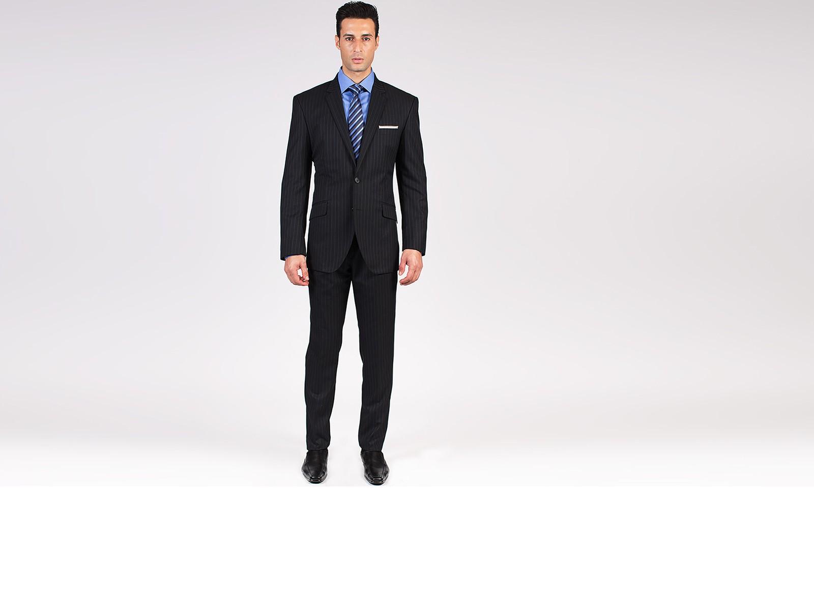 The Philanthropist - Black Pinstripe 2 Piece Custom Suit