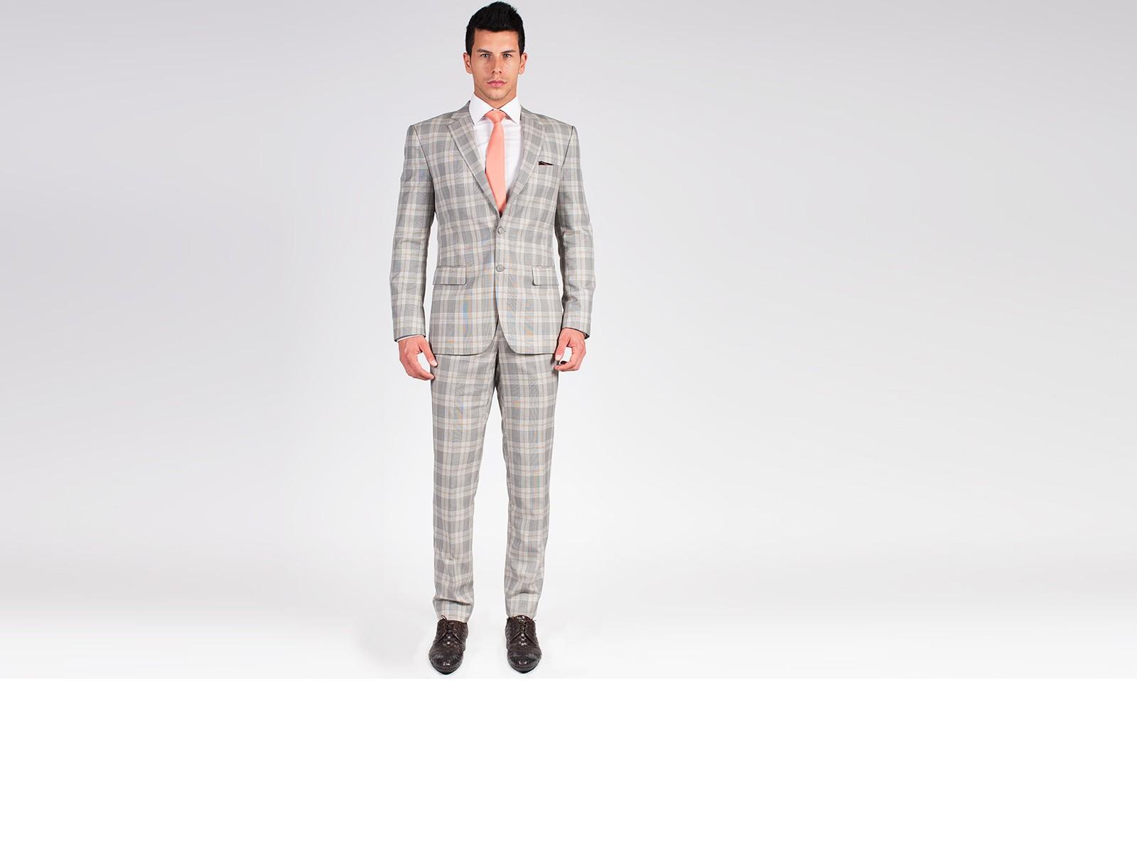 The Beckham - Light Grey Plaid 2 Piece Custom Suit