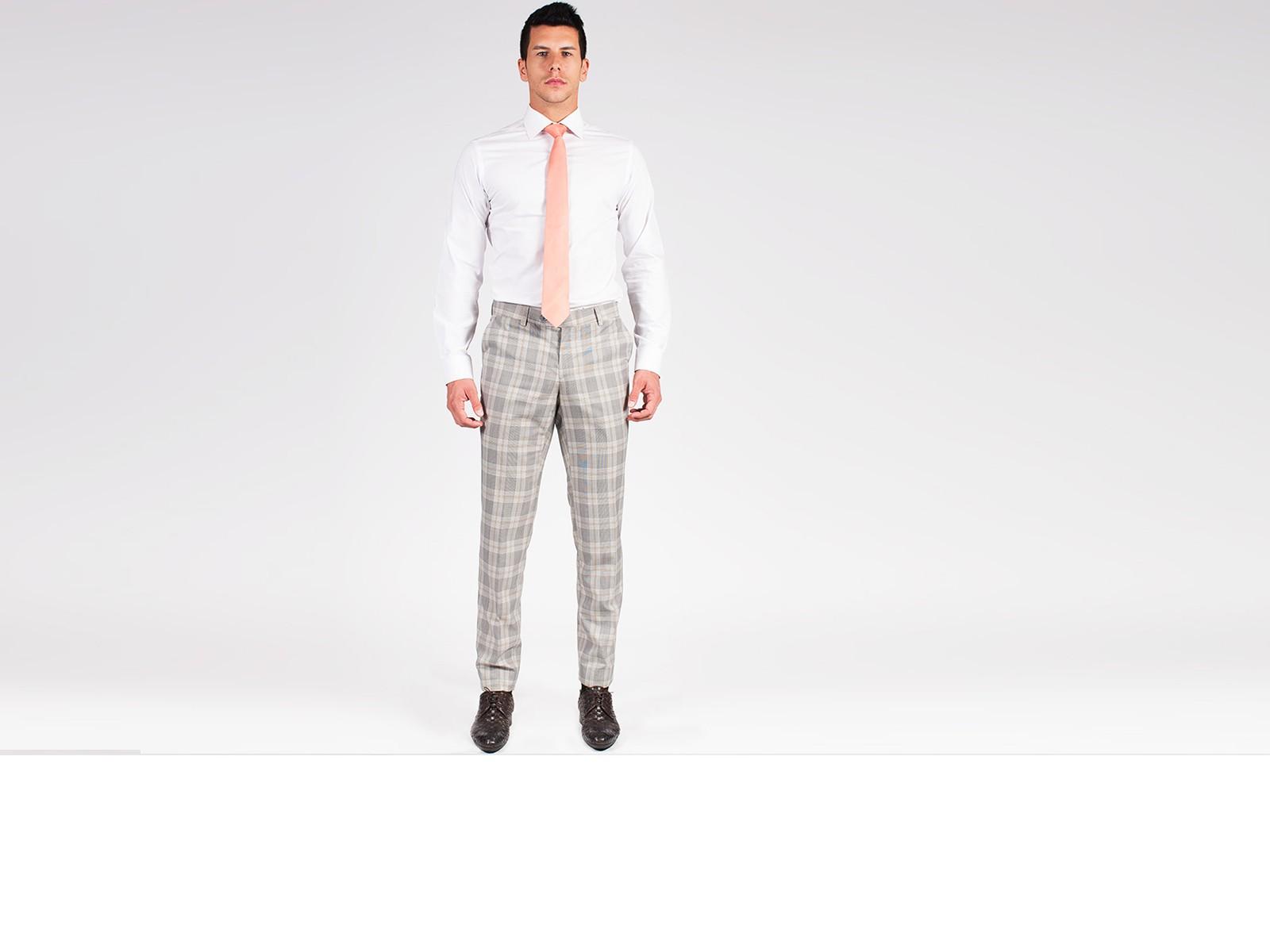 Light Grey Plaid Pants