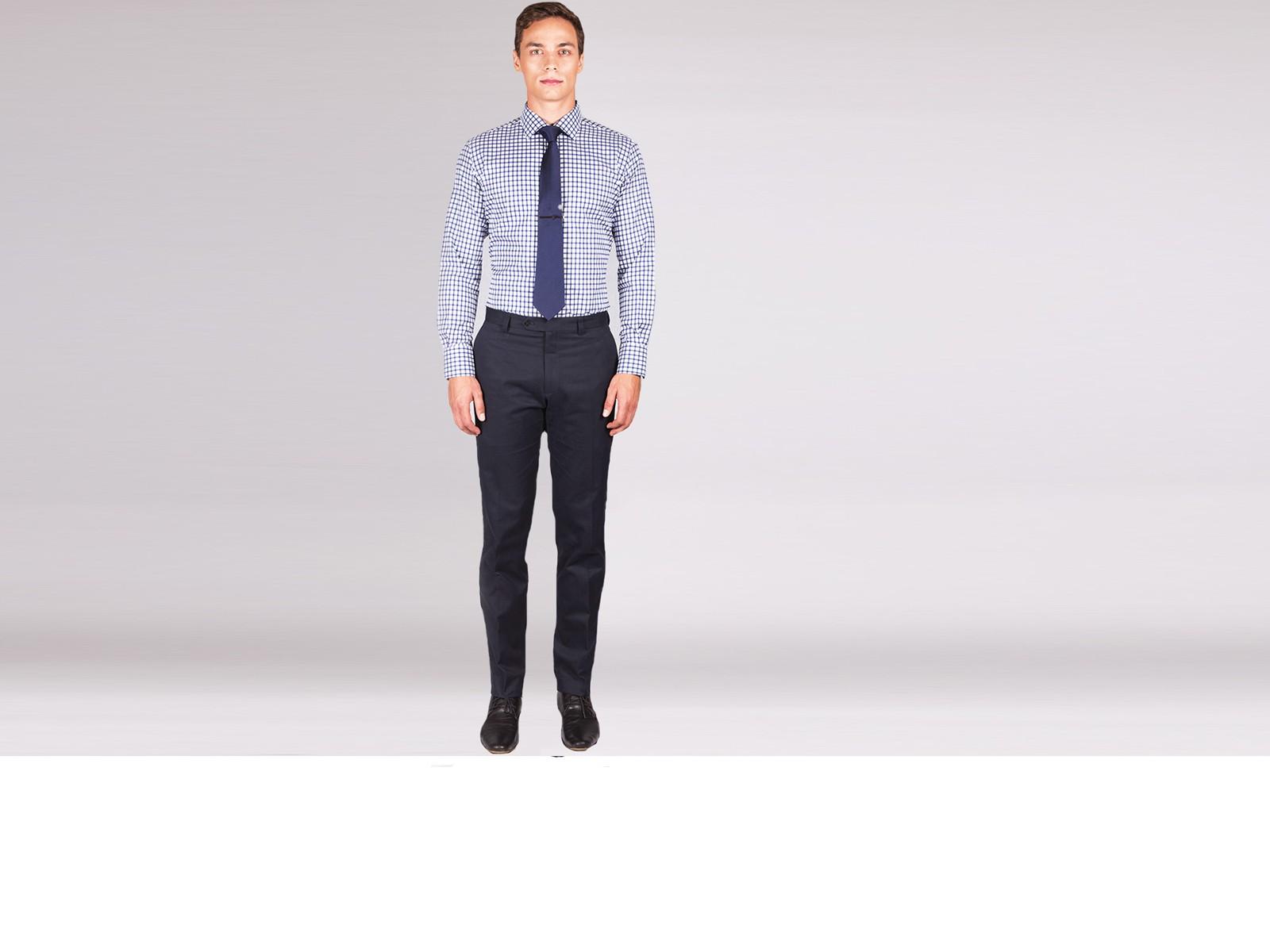 Premium Navy Blue Graph Check Custom Shirt