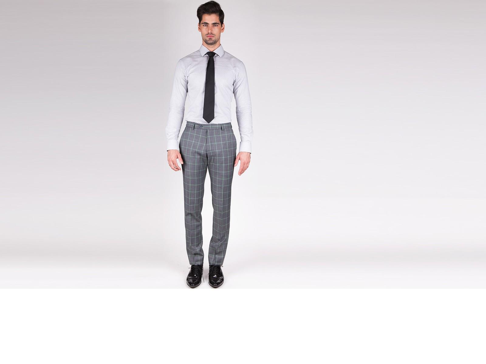 Light Grey Pin Check Custom Shirt