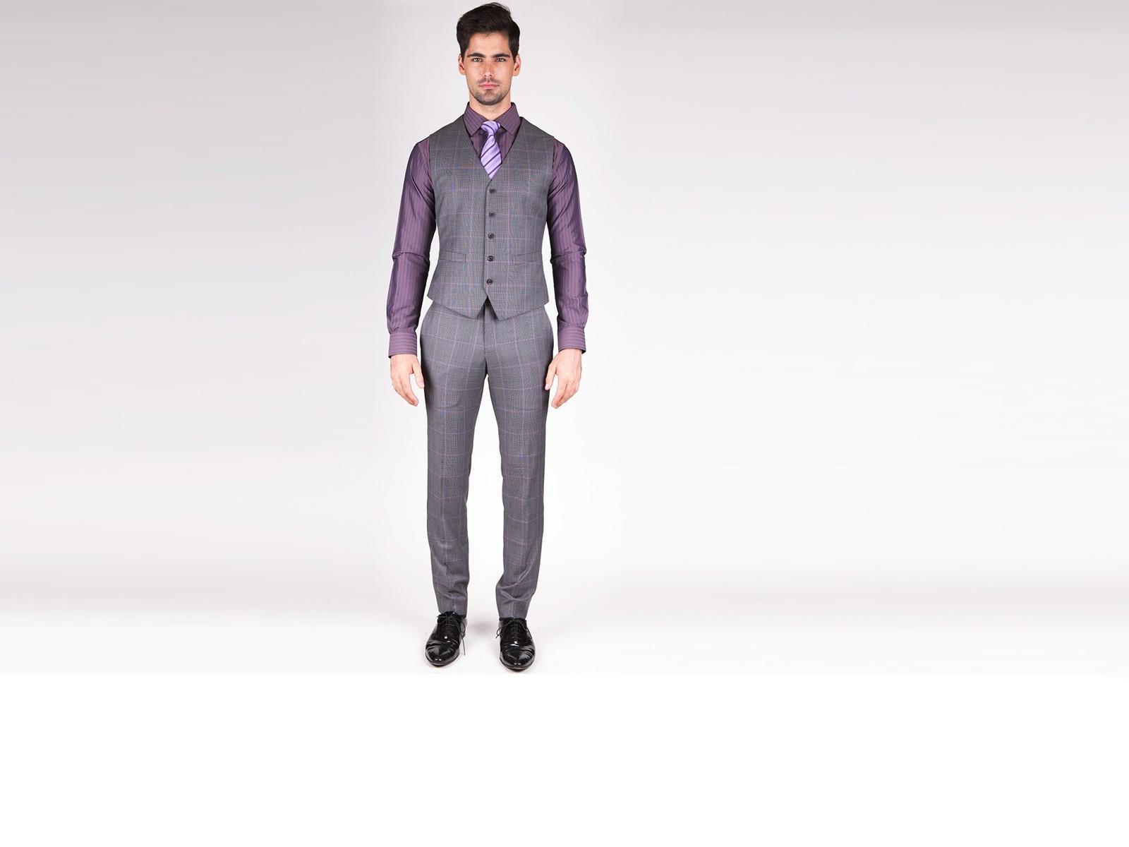 Grey Window Pane Vest