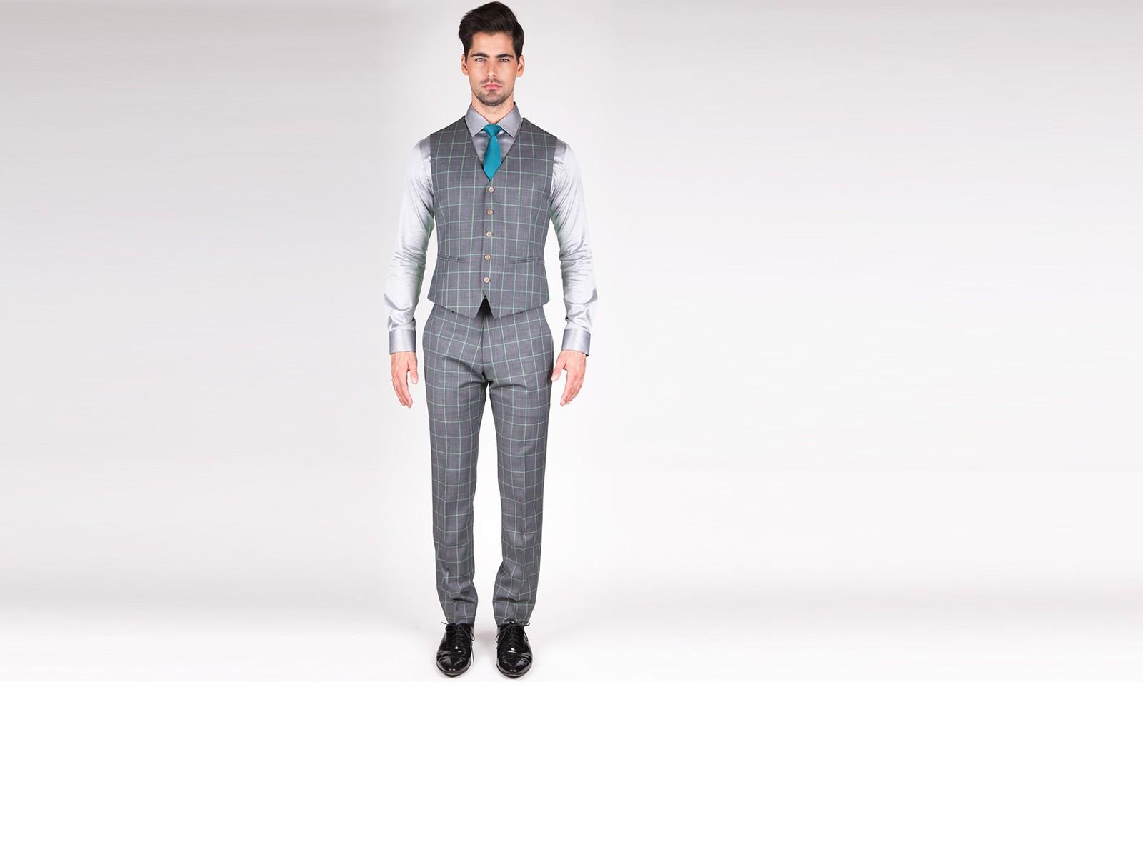 Grey with Green Tine Window Pane Vest