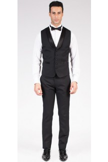 Classic Shawl Collar Black Tuxedo Vest