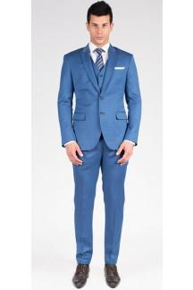 The Aaron - Steel Blue 3 Piece Custom Suit