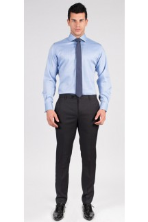 Premium Blue Herringbone Custom Shirt