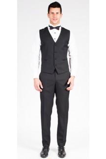 Classic V Neck Black Tuxedo Vest