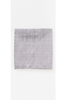 Grey Raw Silk Pocket Square