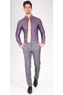 Premium Purple Herringbone Custom Shirt