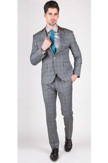 The Astaire - Grey & Green Window Pane 2 Piece Custom Suit
