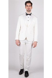 The Knight - Offwhite 3 Piece Custom Tuxedo (White Vest)