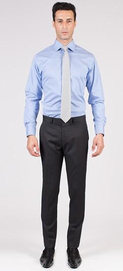 Premium Blue Pencil Stripe Custom Shirt