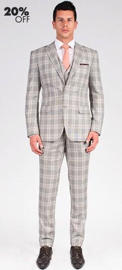 The Beckham - Light Grey Plaid 3 Piece Custom Suit