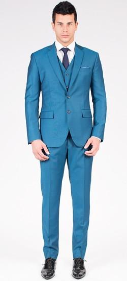 The Sean - Classic Teal Blue 3 Piece Custom Suit