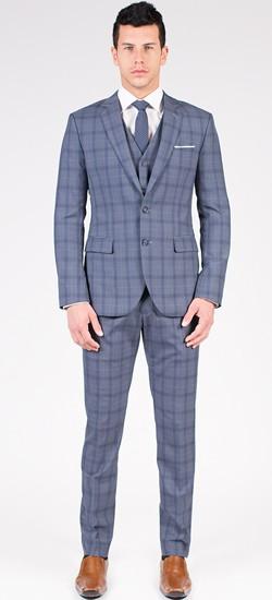 The Eric - Grey/Blue Plaid 3 Piece Custom Suit
