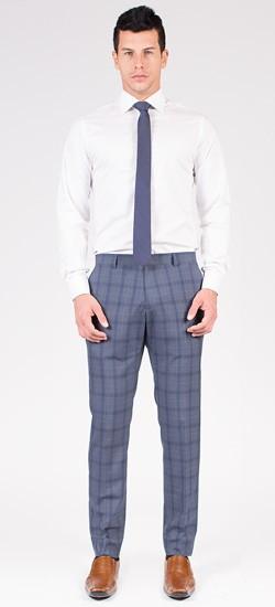 Grey & Blue Plaid Pants