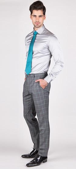 Grey Window Pane Pants