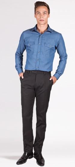Custom Blue Denim Shirt
