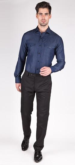 Navy Blue Denim Custom Shirt