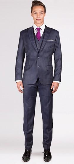 The Ashton - Charcoal Grey Striped 3 Piece Custom Suit