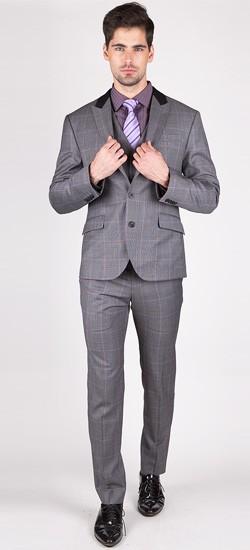 The Johnathan - Grey/Purple Window Pane 3 Piece Custom Suit