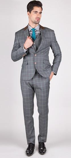 The Astaire - Grey/Green Window Pane 3 Piece Custom Suit
